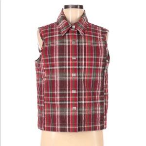 Christopher & Banks Red Plaid Quilted Vest Small